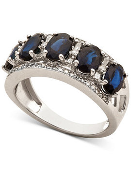 Sapphire (2 7/8 Ct. T.W.) & Diamond (1/3 Ct. T.W.) Ring In 14k White Gold (Also In Certified Ruby, Emerald & Tanzanite) by Macy's