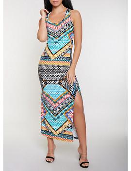 Mixed Aztec Print Racerback Tank Maxi Dress by Rainbow