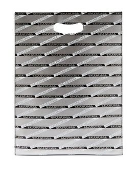 Monogram Logo Print Leather Tote Bag by Balenciaga