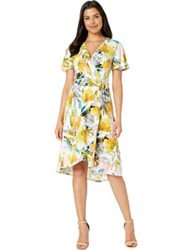 Wrap Dress W/ Flutter Sleeveless by London Times