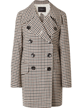Double Breasted Gingham Woven Coat by Derek Lam