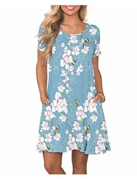 Korsis Women's Summer Casual T Shirt Dresses Short Sleeve Swing Dress With Pockets by Korsis