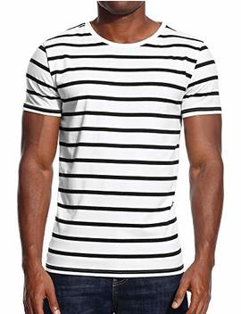 Striped T Shirt For Men Stripes Casual Tee Top Crew Neck Cotton Slim Fit Male by Zecmos
