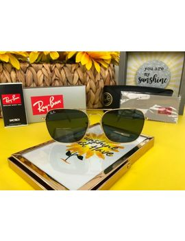Ray Ban Caravan Rb3136 001 55 Non Polarized Square Men's Sunglasses   Gold/Green by Ray Ban
