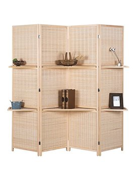Rhf 6 Ft Tall (Extra Wide) Beige Woven Bamboo Room Divider&Room Dividers And Folding Privacy Screens,Partition Wall, With 2 Display Shelves&Room Divider With Shelves Bamboo  4 Panels 2 Shelves by Rose Home Fashion