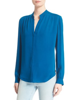 'bianca' Band Collar Silk Blouse by L'agence