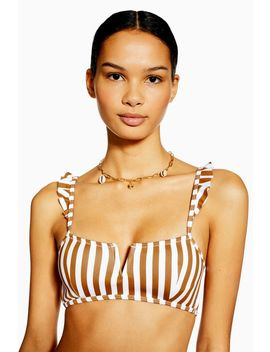 Tan Striped V Wire Bikini Crop Top by Topshop