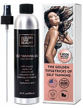 Self Tanner   Sunless Tanning Oil, Organic Spray Tan W/Hyaluronic Acid And Latex Gloves... by Golden Star Beauty