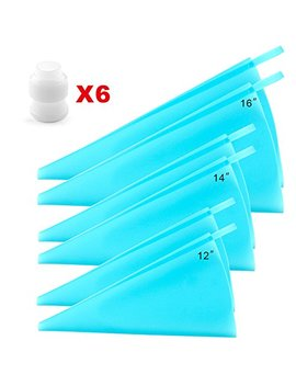 Silicone Pastry Bags, Weetiee 3 Sizes Reusable Icing Piping Bags Baking Cookie Cake Decorating Bags (12''+14''+16'')  6 Pack   Bonus 6 Icing Couplers Fit Wilton Standard Size Tips Supplies by Weetiee