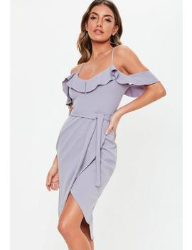 Ice Gray Crepe Frill Midi Dress by Missguided