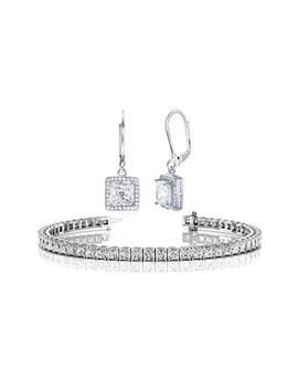 Nyc Sterling Halo Drop Earrings And Tennis Bracelet Bridal Gift Set by Nyc Sterling