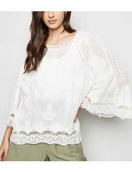 Cameo Rose Crochet Trim Long Sleeve Top by New Look