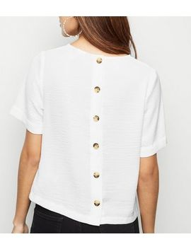 White Button Back Boxy T Shirt by New Look