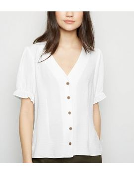 Off White Puff Sleeve Blouse by New Look