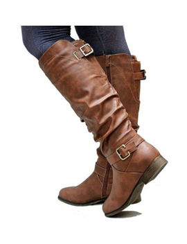 Fashion Womens Ladies Knee High Leather Buckle Riding Biker Boots Block Shoes Us by Unbranded
