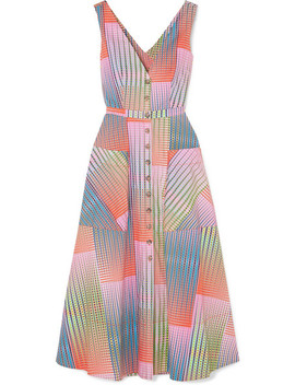 Zoey Cutout Printed Cotton Poplin Dress by Saloni