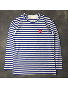 ❉Striped Men's Women Comme Des Garcons Cdg Play Red Heart Long Sleeve T Shirt by Ebay Seller