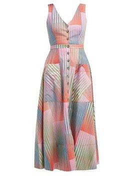 Zoey Geometric Print Panelled Cotton Midi Dress by Saloni
