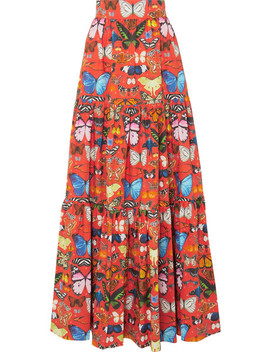 Carmen Tiered Printed Cotton Poplin Maxi Skirt by Mary Katrantzou