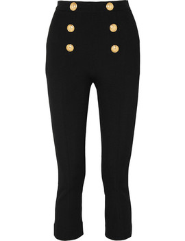 Cropped Button Embellished Textured Knit Bootcut Pants by Balmain