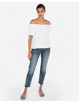 Button Front Off The Shoulder Halter Neck Top by Express