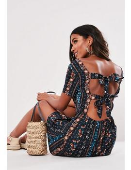 Navy Floral Tie Back Wrap Mini Dress by Missguided