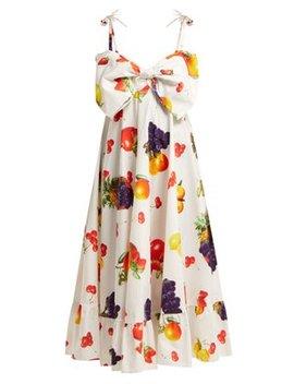 Bow Bodice Fruit Print Cotton Midi Dress by Msgm