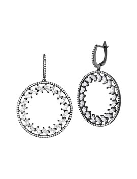 Black Rhodium Plated Sterling Silver Cz Drop Earrings by Sphera Milano