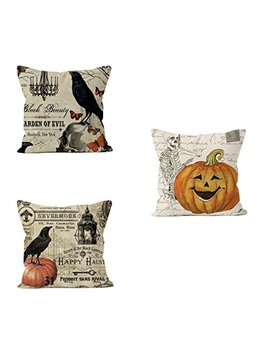 Psdwets Halloween Decorations Bird,Skull Pumpkin Pillow Covers Set Of 3 Home Decor Cotton Linen Throw Pillow Covers Cushion Cover 18 X 18 by Psdwets