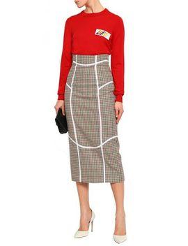Houndstooth Tweed Pencil Midi Skirt by Stella Jean