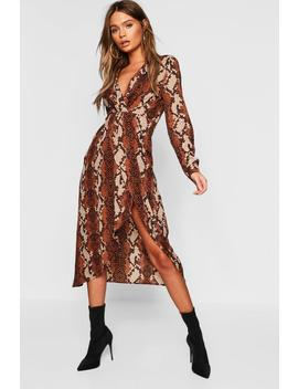 Petite Snake Wrap Knot Front Midaxi Shirt Dress by Boohoo