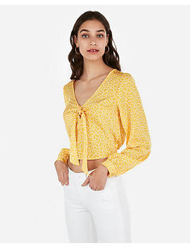 Satin Polka Dot Tie Front Long Sleeve Cropped Top by Express