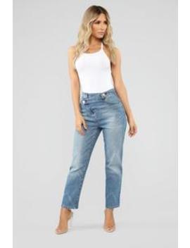 Something Special Asymmetrical Jeans   Medium Blue Wash by Fashion Nova