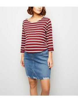 Maternity Blue Ripped Over Bump Denim Skirt by New Look