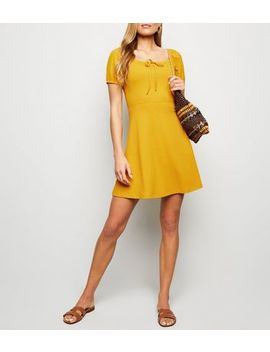 Mustard Bow Square Neck Rib Skater Dress by New Look