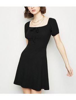 Black Bow Square Neck Rib Skater Dress by New Look