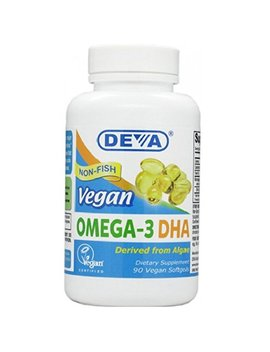 Deva Vegan Vitamins Vegan Dha (Algae) 200mg Vegan Softgels, 90 Count Bottle by Deva Vegan Vitamins