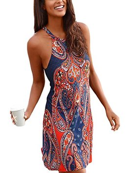 Sidefeel Women V Neck Halter Printed Casual Short Strap Mini Dress by Sidefeel