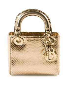Lady Dior Mini Rose Gold Python Skin Leather Cross Body Bag by Dior