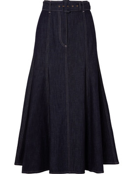 Belted Denim Midi Skirt by Emilia Wickstead