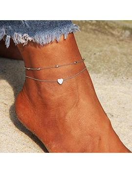 artmiss-layered-anklets-women-heart-silver-ankle-bracelet-charm-beaded-dainty-foot-jewelry-for-women-and-teen-girls-summer-barefoot-beach-anklet by artmiss