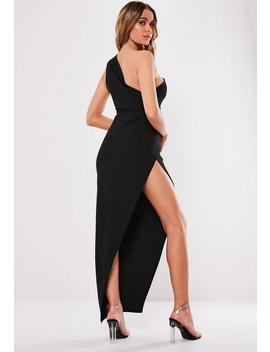 Black One Shoulder Wrap Midi Dress by Missguided
