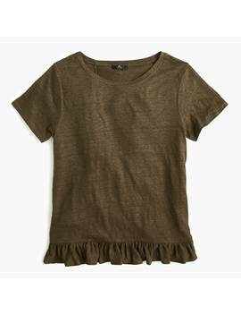 Linen Ruffle Back T Shirt by J.Crew