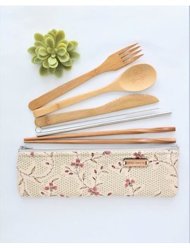 Eco Friendly Travel Gifts For Women, Zero Waste Bamboo Cutlery by Etsy