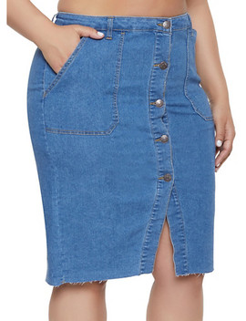 Plus Size Almost Famous High Waisted Denim Skirt by Rainbow