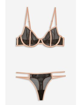 Black Fishnet Underwear Set by Topshop