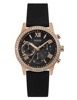 Rose Gold Tone And Black Multifunction Watch by Guess