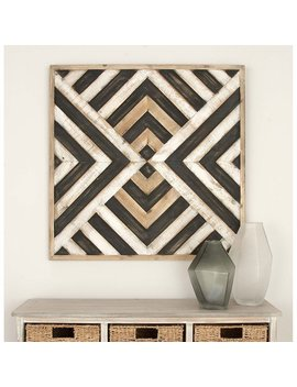 Dec Mode 31 In. Square Framed Geometric Pattern Wood Wall Art by Hayneedle