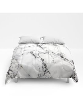 White Marble Texture Comforters by Society6