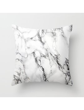 White Marble Texture Throw Pillow by Society6